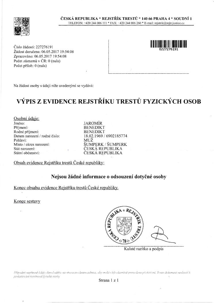 výpis z evidence rejstříku trestů